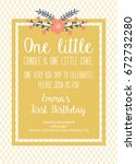 first birthday invitation girl  ... | Shutterstock .eps vector #672732280