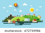 abstract flat design natural... | Shutterstock .eps vector #672734986