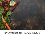 healthy food  cooking concept   ...   Shutterstock . vector #672743278