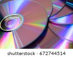 Small photo of Stack of purple rewritable dvd collection