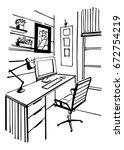 home office interior sketch. | Shutterstock .eps vector #672754219