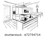 sketch of modern corner kitchen.... | Shutterstock .eps vector #672754714