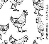 seamless livestock pattern | Shutterstock .eps vector #672759118