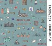 amsterdam holland city doodle... | Shutterstock .eps vector #672760066