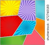 comic book page backgrounds set ... | Shutterstock .eps vector #672760183