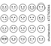 outline hand drawn smiley faces ... | Shutterstock .eps vector #672763066