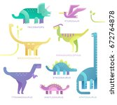 set of dinosaurs. vector... | Shutterstock .eps vector #672764878