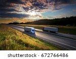 trucks transportation | Shutterstock . vector #672766486