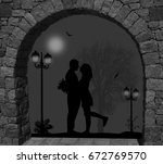 Silhouettes Of Lovers Under...