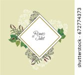 wedding invitation  floral... | Shutterstock .eps vector #672774373