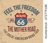 route 66 typography for t shirt ... | Shutterstock .eps vector #672779188