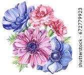 summer watercolor vintage... | Shutterstock . vector #672779923