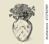 sketch of a vase with flowers.... | Shutterstock .eps vector #672782989