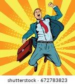businessman the winner pop art... | Shutterstock .eps vector #672783823