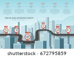 timeline infographic road... | Shutterstock .eps vector #672795859