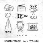 cinema symbols ticket ... | Shutterstock .eps vector #672796333