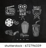 cinema signs clapperboard ... | Shutterstock .eps vector #672796339