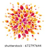 red autumn leaves splash round... | Shutterstock . vector #672797644