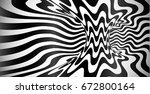 abstract black and white wavy... | Shutterstock . vector #672800164