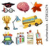 school and education  3d vector ... | Shutterstock .eps vector #672812674