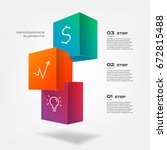 3d blocks infographics step by... | Shutterstock .eps vector #672815488