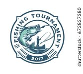 fishing tournament logo template | Shutterstock .eps vector #672827380