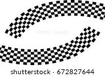 checkered racing flag isolated... | Shutterstock .eps vector #672827644
