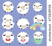 Stock vector vector illustration of cute white sheep with heart star and rainbow 672828928
