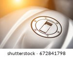 close up motorcycle fuel tank... | Shutterstock . vector #672841798
