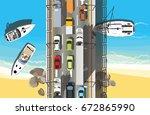 road bridge across the river on ...   Shutterstock .eps vector #672865990