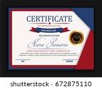 creative certificate template... | Shutterstock .eps vector #672875110