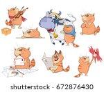set of vector cartoon... | Shutterstock .eps vector #672876430
