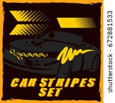 tribal and cool car stripe set... | Shutterstock .eps vector #672881533