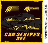tribal and cool car stripe set...   Shutterstock .eps vector #672881536