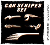 tribal and cool car stripe set... | Shutterstock .eps vector #672882400