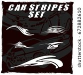 tribal and cool car stripe set... | Shutterstock .eps vector #672882610
