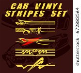 tribal and cool car stripe set... | Shutterstock .eps vector #672883564