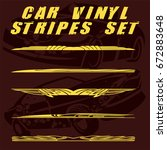 tribal and cool car stripe set... | Shutterstock .eps vector #672883648
