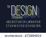 vector of modern sleek font and ... | Shutterstock .eps vector #672884824
