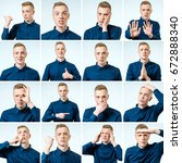 set of young man's portraits... | Shutterstock . vector #672888340