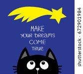 black cat looking up to star... | Shutterstock . vector #672901984