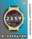 concept smart watch wristwatch...   Shutterstock .eps vector #672902374