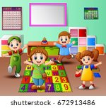vector illustration of happy... | Shutterstock .eps vector #672913486