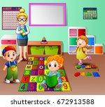 vector illustration of teacher... | Shutterstock .eps vector #672913588
