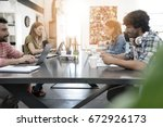 trendy young people working in... | Shutterstock . vector #672926173