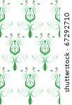 Raster version Illustration of seamless background. Green White Abstract Flower - stock photo