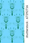 Raster version Illustration of seamless background. Blue Green Abstract Flower - stock photo