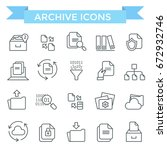 archive and document flow icons | Shutterstock .eps vector #672932746