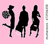 woman with bag stickers | Shutterstock .eps vector #672936358