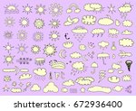 weather symbols | Shutterstock .eps vector #672936400
